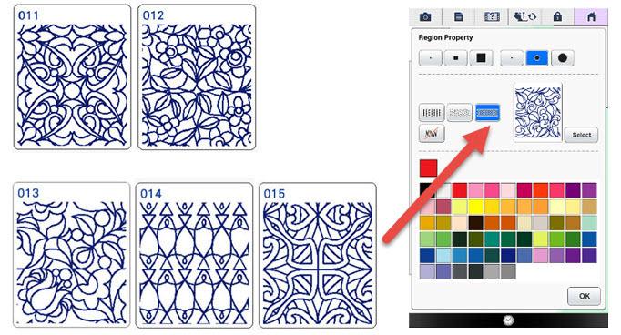 Nouveaux motifs de remplissage décoratifs - Premium Pack II Brother XV