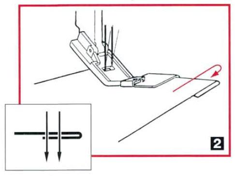 Guide pied rabat unique, ourlet couvert H2 etape 2 tissu sous le pied.jpg
