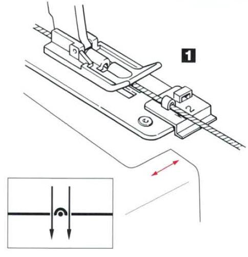 Guide pied ruban, nervure, cordonnet, fil de peche K2 mise en place avec tissus.jpg