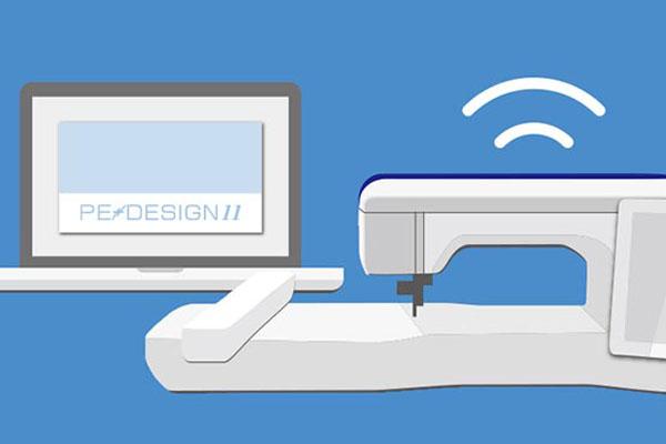 Réseau sans fil entre la Luminaire XP1 et le logiciel Brother Pe-Design 11