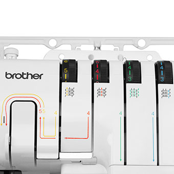 Enfilage simplifié par code couleur de la surjeteuse Bother 2104D