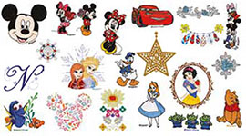 125 motifs de broderie, dont 45 motifs Disney, pour la machine à broder Brother Innovis M240ED