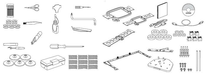 Accessoires de la machine à broder Janome MB7
