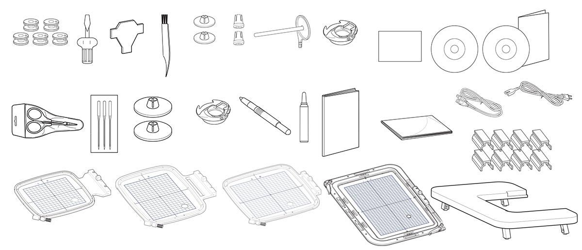 Accessoires de la machine à broder Janome Memory Craft 550E