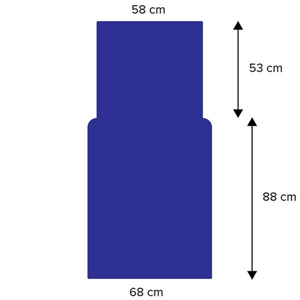 Dimensions de la housse à repasser pour rouleau 65cm
