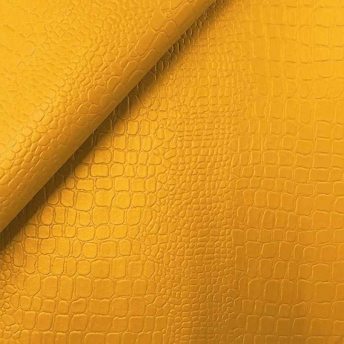 Coupon simili cuir croco jaune 50x70 cm