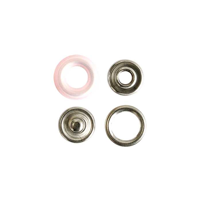 Boutons pression 12mm rose clair (10)