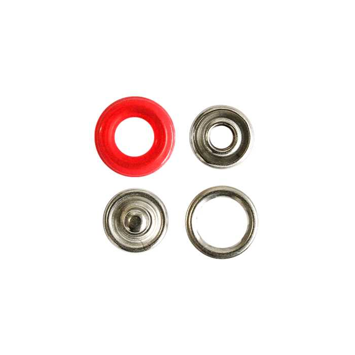 Boutons pression 12mm rouge (10)