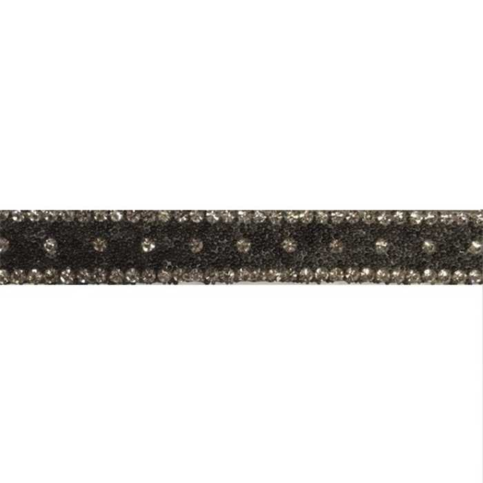 Galon strass noir thermocollant 12mm /m