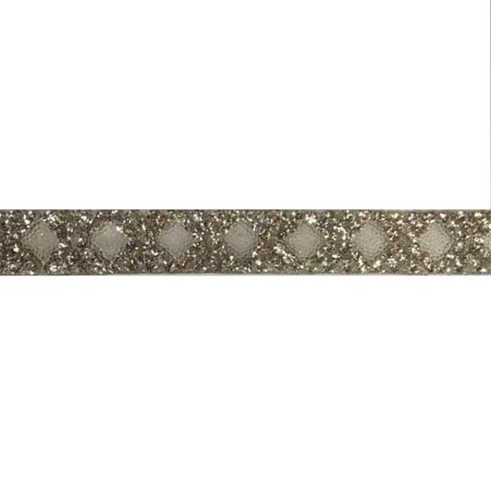 Galon strass thermocol. argent 16mm /m