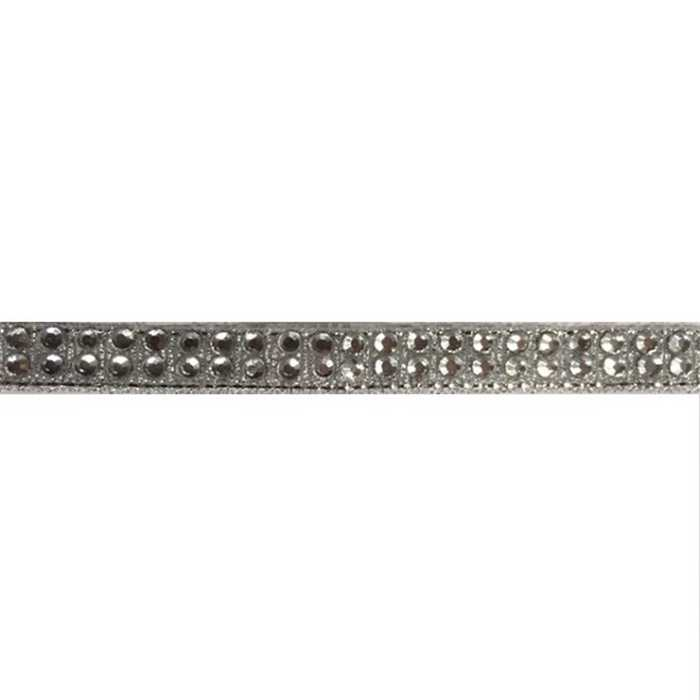 Galon strass argent thermocollant /m