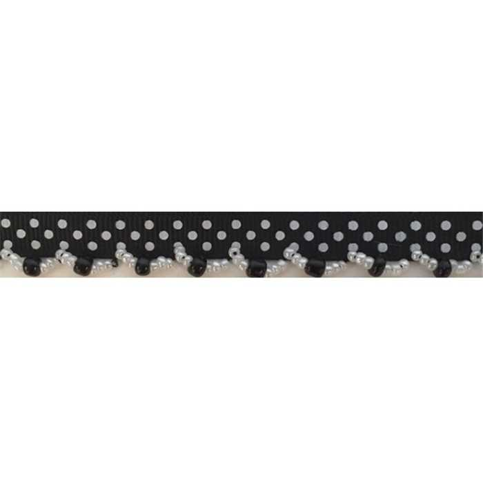 Galon perles noir 15mm /m