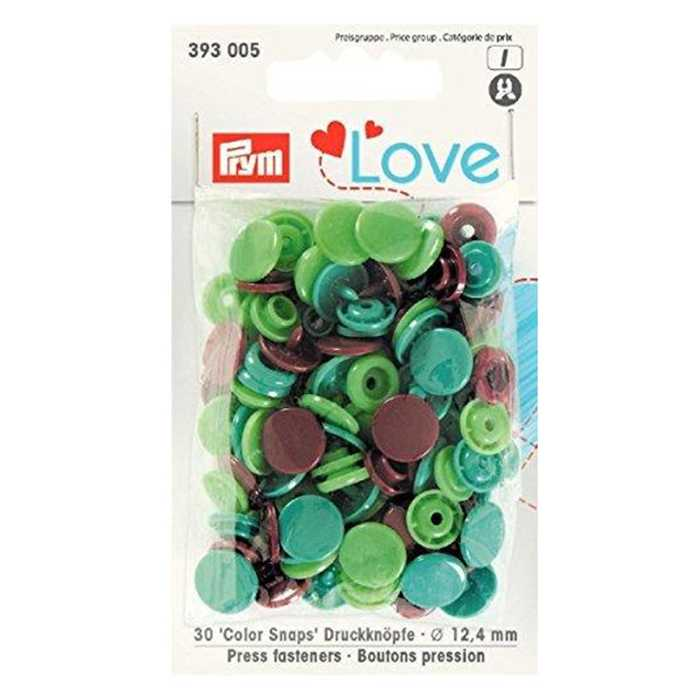 Bouton pression 12.4mm tons verts Prym