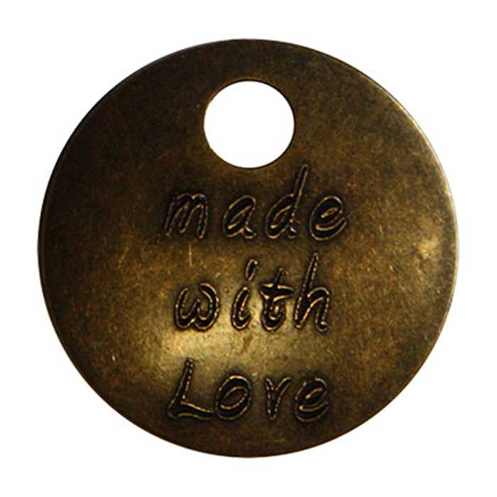 "Pampille bronze vieilli ""Made with love"""