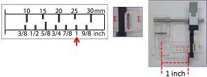 Pied guide coulissant, à réglette à une échelle graduée avec des marques en pouces et en millimètres en fonction de vos besoin de couture