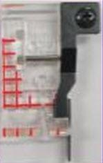 Pied patch, pour bordure transparent large avec des lignes marquées en rouge à intervalles de 1/8' à partir de la position centrale de l'aiguille